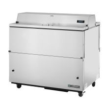 TRUE TMC-49-S-DS-SS-HC Mobile Milk Cooler, FORCED-AIR, (12) crates, DUAL SIDED stainless steel drop front/hold-open flip-up lids, locks, 33-38F