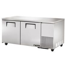 TRUE TUC-67F Deep Undercounter Freezer, -10 F, stainless steel top & sides, (2) stainless steel doors, (4) shelves, aluminum interior with stainless