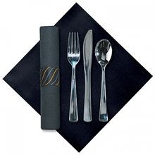 CUTLERY KIT METALLIC K/F/S BLACK LINEN-LIKE NAPKIN (100)