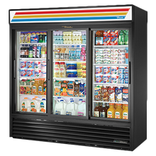 TRUE GDM-69-HC-LD Refrigerated Merchandiser, three-section, (12) shelves, powder coated steel exterior, white interior with stainless steel floor