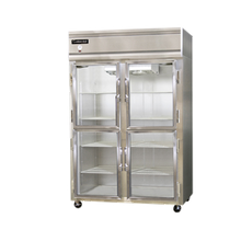 Continental 2F-GD-HD Freezer, display, two-section, self-contained refrigeration, aluminum exterior & interior, stainless steel front, standard
