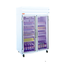 Howard GR48 Refrigerator Merchandiser, two section, self-contained refrigeration, white exterior & interior, hinged glass doors, (4) shelves per