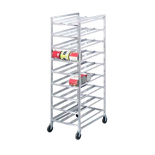 Mobile Can Rack. This can rack organizes stock and maximizes available space. Self-feeding feature keeps stock rotated.