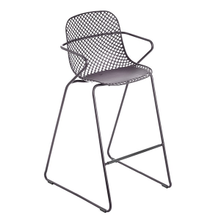 Grosfillex US139713 Ramatuelle '73 Barstool, stackable, lattice design resin back, solid resin seat, powder-coated steel legs, footrest