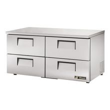 TRUE TUC-60D-4-LP-HC Low Profile Undercounter Refrigerator, 33-38 F, stainless steel top & sides, (4) drawers each accommodate (1) 12x20x6 food pan