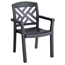 Grosfillex US451002 Sanibel Classic Stacking Dining Armchair, designed for outdoor use, Rexform resin with synthetic wood texture finish, charcoal