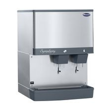 Follett 110CM-NI-L Symphony Plus Ice & Water Dispenser, countertop, lever dispense manual load, 110 lb. storage capacity, Agion silver-based