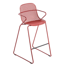 Grosfillex US139712 Ramatuelle '73 Barstool, stackable, lattice design resin back, solid resin seat, powder-coated steel legs, footrest