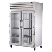 TRUE STG2RPT-2G-2S-HC SPEC SERIES Pass-thru Refrigerator, two-section, stainless steel front, aluminum sides, (2) glass doors front, (2) stainless