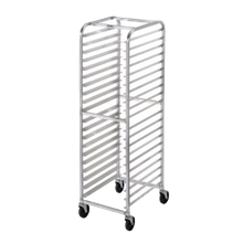 Mobile Pan Rack. Composed of durable aluminum, this pan rack features an end-loading design. Holds up to twenty 18