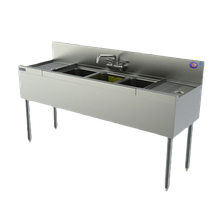 Perlick TSD43L TSD Series Underbar Sink Unit, three compartment, 48
