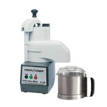 Robot Coupe R301 DICE ULTRA Combination Food Processor, 3-1/2 qt. capacity stainless steel bowl with handle, continuous feed attachment, push button