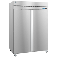 Hoshizaki F2A-FS Steelheart Series Freezer, reach-in, two-section, 50.37 cu. ft., top mounted self-contained refrigeration system, (6) epoxy-coated
