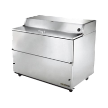 TRUE TMC-58-S-DS-SS-HC Mobile Milk Cooler, FORCED-AIR, (16) crates, DUAL SIDED stainless steel drop front/hold-open flip-up lids, locks, 33-38F