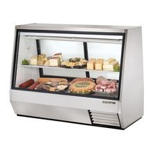 TRUE TDBD-72-2 Double Duty Deli Case, see-thru, Low-E glass front & (2) rear doors, white aluminum interior with coved stainless steel floor