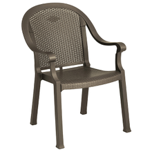 Grosfillex 99720037 Sumatra Classic Stacking Dining Armchair, designed for outdoor use, Kevring resin with synthetic metal texture finish, bronze