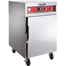Vulcan VRH88 Cook/Hold Cabinet, double-deck, mobile, mechanical temperature controls, (6) wire shelves, roasts at 250 F, capacity (16) sheet pans or
