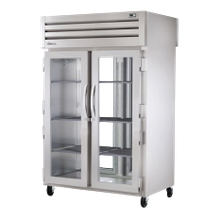 TRUE STR2RPT-2G-2S-HC SPEC SERIES Pass-thru Refrigerator, two-section, stainless steel front & sides, (2) glass doors front, (2) stainless steel