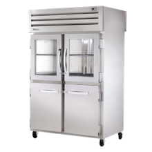 TRUE STR2RPT-2HG/2HS-2S-HC SPEC SERIES Pass-thru Refrigerator, two-section, stainless steel front & sides, (2) glass & (2) stainless steel half