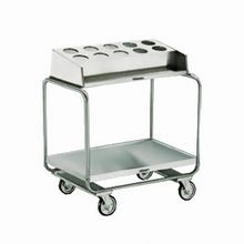 Lakeside 213 Tray & Silver Cart, tubular U-frame with lower platform tray storage & top rack, accepts ten (10) flatware cylinders (not included), for