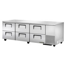 TRUE TUC-93D-6 Deep Undercounter Refrigerator, 33-38 F, stainless steel top & sides, (6) drawers each accommodate (2) 12