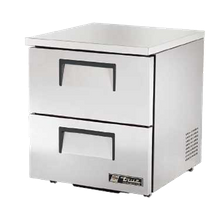 TRUE TUC-27D-2-LP-HC Low Profile Undercounter Refrigerator, 33-38 F, stainless steel top & sides, (2) drawers each accommodate (1) 12x20x6 food pan