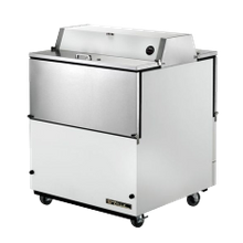 TRUE TMC-34-DS-SS-HC Mobile Milk Cooler, FORCED-AIR, (8) crates, DUAL SIDED stainless steel drop front/hold-open flip-up lids, locks, 33-38F, white