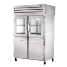 TRUE STA2RPT-2HG/2HS-2S-HC SPEC SERIES Pass-thru Refrigerator, two-section, stainless steel front & sides, (2) glass & (2) stainless steel half