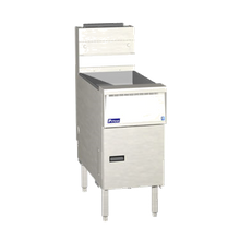 Pitco Frialator SG14RS Solstice Natural Gas Floor Fryer with built-in filtration unit. 40-50lb. oil capacity.