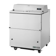 TRUE TMC-34-S-SS-HC Mobile Milk Cooler, FORCED-AIR, (8) crates, stainless steel drop front/hold-open flip-up lids, lock, 33-38F, stainless exterior