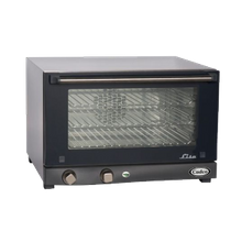 Countertop Convection Oven, 120 volt. This stainless steel electric convection oven features an insulated double wall cool-touch glass door.
