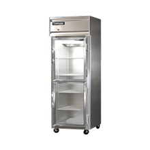 Continental 1F-SA-GD-HD Freezer, display, one-section, self-contained refrigeration, stainless steel exterior, aluminum interior, standard depth
