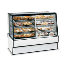 Federal SGR7748DZ High Volume Vertical Dual Zone Bakery Case Refrigerated Left Non-Refrigerated Right, 77