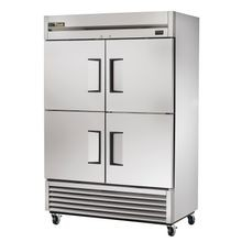 TRUE TS-49-4-HC Refrigerator, Reach-in, two-section, (4) stainless steel half doors, stainless steel front/sides, stainless steel interior, (6) gray