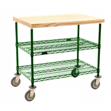 Eagle DC2436V Maple Top Demo Cart, 3-tier, 36