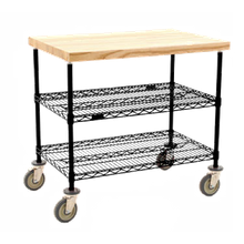 Eagle DC2436BL Maple Top Demo Cart, 3-tier, 36