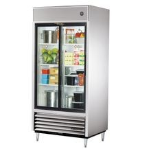 TRUE TSD-33G-HC-LD Refrigerator, Reach-in, (2) glass sliding doors, stainless steel front, aluminum sides, white aluminum interior with stainless