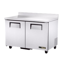 TRUE TWT-48F-HC Work Top Freezer, two-section, -10 F, stainless steel top with splash, front & sides, with aluminum finished back, (2) solid