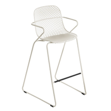 Grosfillex US139710 Ramatuelle '73 Barstool, stackable, lattice design resin back, solid resin seat, powder-coated steel legs, footrest
