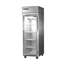 Continental 1F-GD Freezer, display, one-section, self-contained refrigeration, aluminum exterior & interior, stainless steel front, standard depth