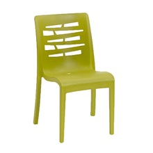 Grosfillex US218152 Essenza Stacking Chair, designed for outdoor use, air molding technology resin, nylon footpads, recyclable, ASTM and BIFMA