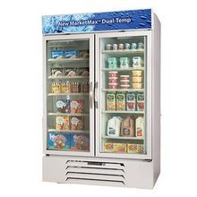 Beverage Air MMRF49-1-W-LED MarketMax DUAL TEMP Merchandiser, reach-in, two-section, (2) glass doors - freezer section has heated triple pane glass