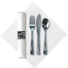 CUTLERY KIT F,K,S LINEN-LIKE 17X17 WHITE HVY METALLIC (100)