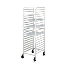 Mobile Pan Rack. This mobile pan rack features open sides, angle slides on 3