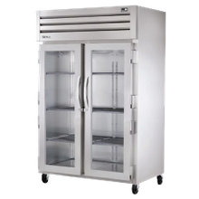 TRUE STA2R-2G-HC SPEC SERIES Refrigerator, Reach-in, two-section, stainless steel front & sides, (2) glass doors with locks, cam-lift hinges