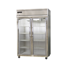 Continental 2F-GD Freezer, display, two-section, self-contained refrigeration, aluminum exterior & interior, stainless steel front, standard depth