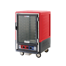 Metro C535-CFC-4 C5 3 Series Heated Holding & Proofing Cabinet, with Red Insulation Armour, mobile, half height, insulated, clear polycarbonate
