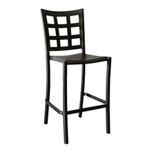 Grosfillex US046017 Plazza Stacking Barstool, window back design, aluminum seat and frame, footrest, powder coated finish, black