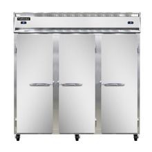 Continental 3RRF Refrigerator/Freezer, reach-in, three-section, self-contained refrigeration, stainless steel front, aluminum interior & ends