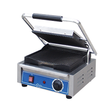 Globe GPG10 Bistro Panini Grill, single, countertop, electric, cast iron grooved plates, 10